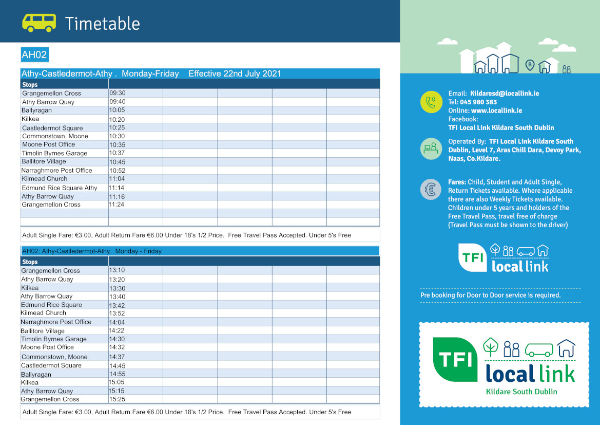 AH02 Athy-Castledermot-Athy Revised Timetable July 22nd 2021
