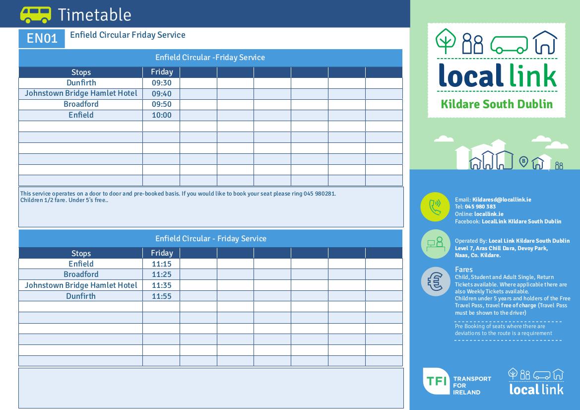 EN01 Enfield Circular - Friday Service TFI Local Link Kildare South Dublin